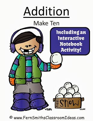 Fern Smith's FREE Winter Cute Kids Themed Make Ten Addition Center Game with Interactive Notebook Activity!