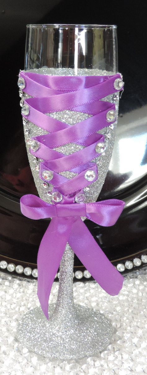 Corset Wine/Champagne Flute Glass - Silver Glitter with Purple Lace Up