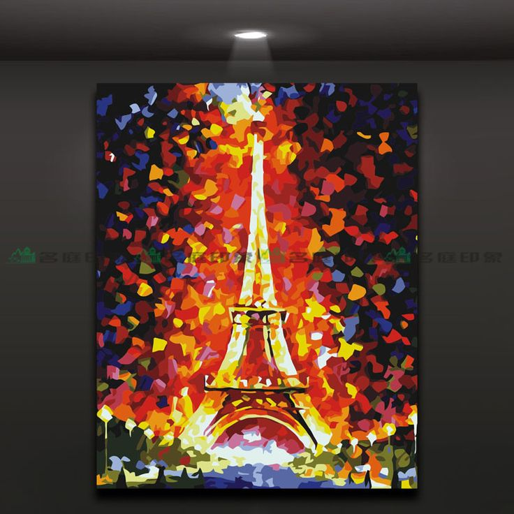 Abstract mural oil painting The Eiffel Tower home decor,picture only No frame,High Quality  ,China   Suppliers, Cheap   from Joyhome