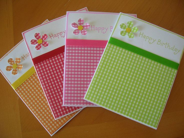 Birthday Card Set of 4 Gingham Collection ~ This is an adorable set!! ~KB