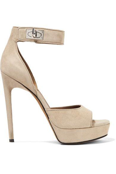 Givenchy - Shark Lock Suede Platform Sandals - Beige