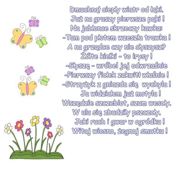 """Wiersz pt. """"Znaki wiosny""""; autor: M. Buczkówna"""