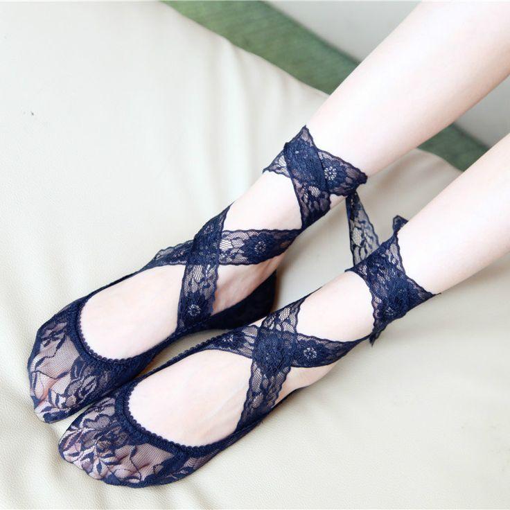 Women Girls Lace Antiskid Invisible Socks