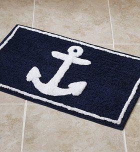 Anchor Rug For Boys Nautical Bath
