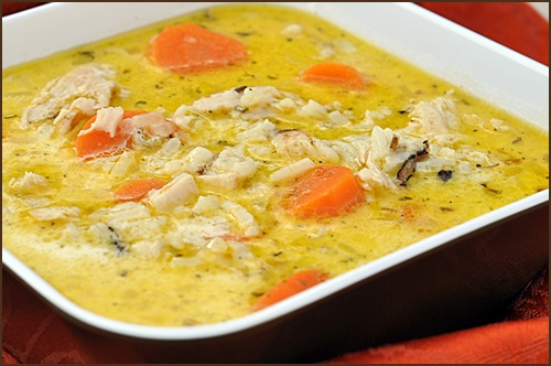 Excellent Creamy Chicken and Wild Rice soup recipe! We used a bag of wild rice and made our own seasoning for a lower sodium version.
