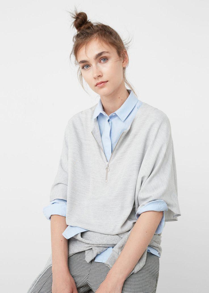 Zipped blouse - Shirts for Woman | MANGO USA