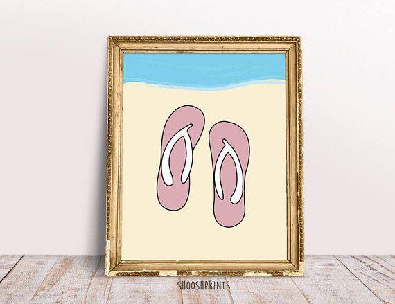 Beach Print Summer Beach Wall Art Flip Flop Art Flip Flop #flipflop #summer #summervibes #art #artwork #etsy #etsyshop #etsyseller #artist #goodvibes #smervibes #beach #beachprint #beachflipflop #flipflps #flipflopprint #beachdecor #arts #digital #pink #blue #sea