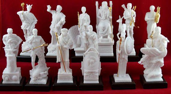 12 Olympian gods Set Statues Greek Pantheon NEW White