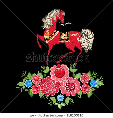 Fairy horses in flowers - stock vector