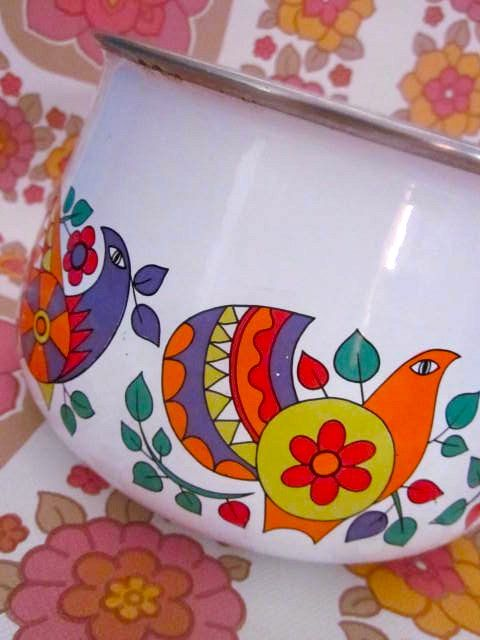 Pretty Vintage Scandi Bird 1970s Saucepan by Pommedejour on Etsy, $38.00