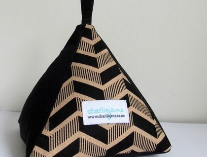 Pyramid Doorstop - Black & Caramel Chevron