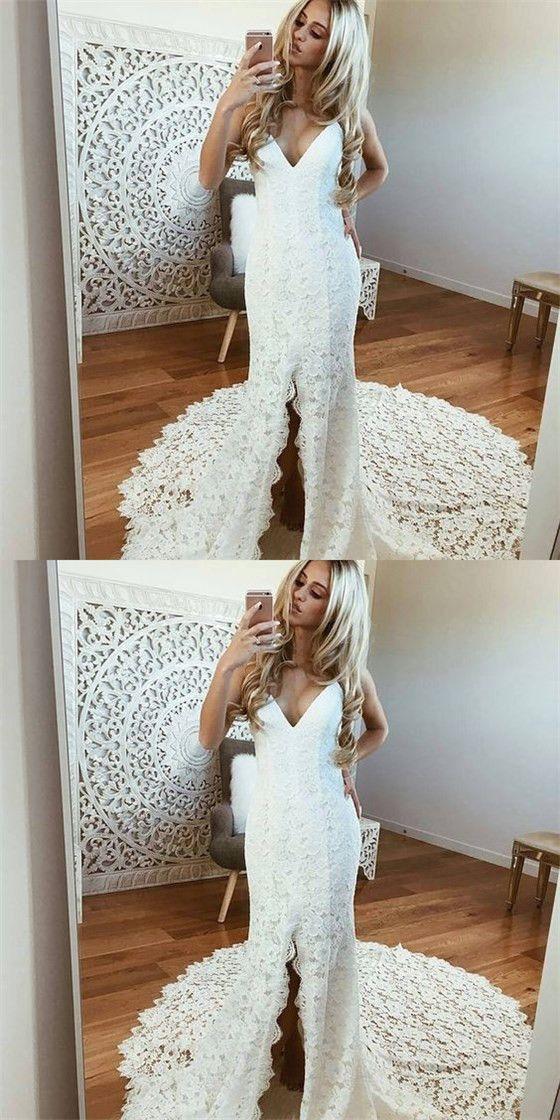 1c9f728bde7 Sexy Spaghetti Straps Sleeveless White Lace Wedding Dresses with Split