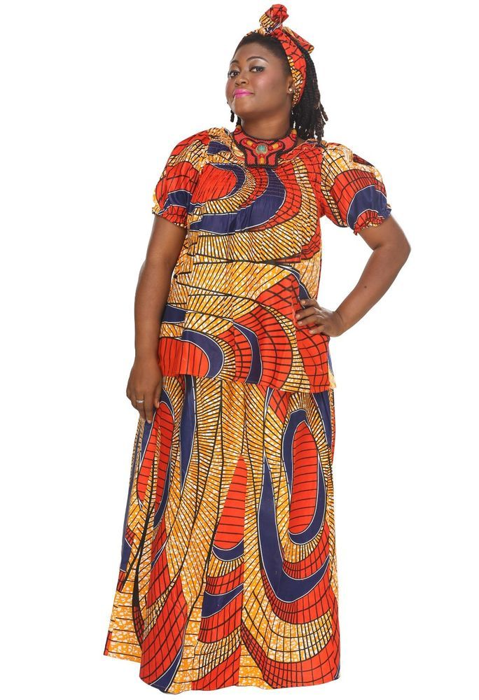 Women's African  3 PC Orange Ethnic Nigerian Lace Flared Hem Gele Kitenge Skirt #AfricanPlanet #Maxi #SummerBeach