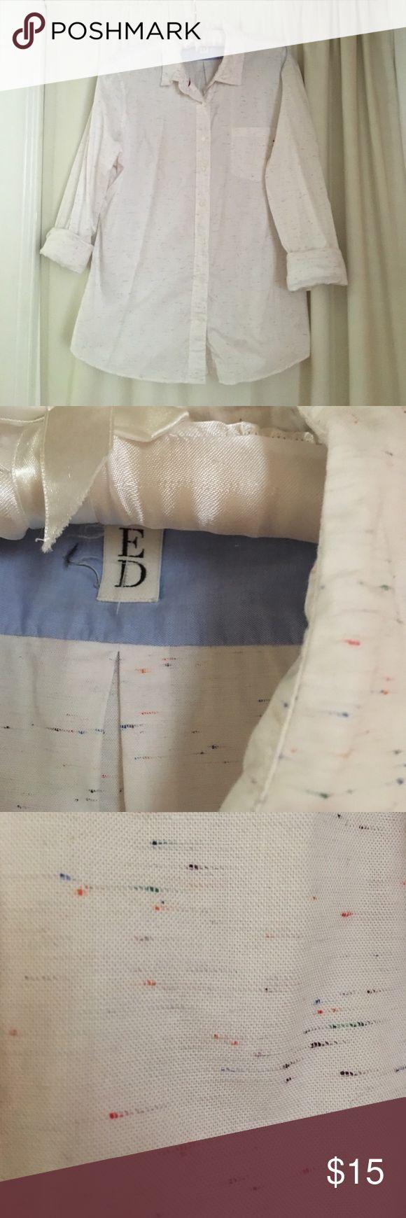 ED buttondown EUC ED buttondown. White with red white and blue tiny specks. Preppy basic ED Tops Button Down Shirts