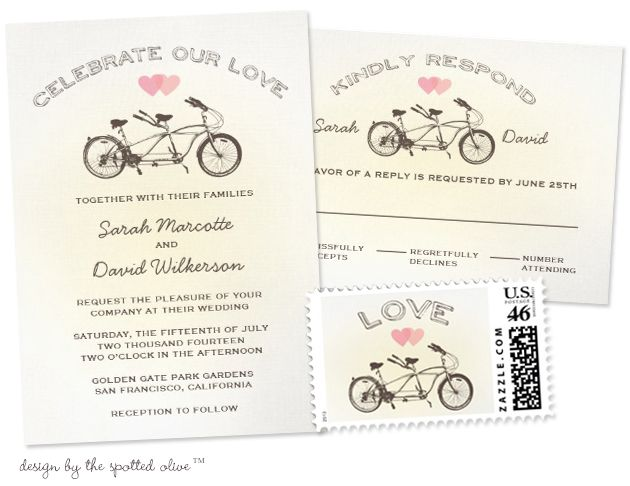 Party Simplicity Bicycle Wedding Trend by Debbie at The Spotted Olive - Bicycle wedding invitations with matching reply cards and postage #bicycle #weddings