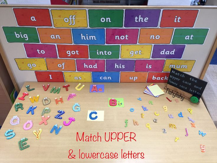 Match upper and lowercase letters on the phonic challenge table.