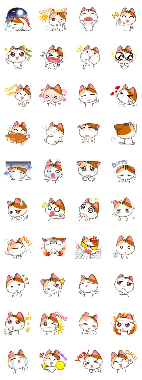 Cat Stickers black bg