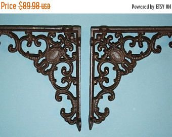 """Check out 13% OFF 8) pcs, Elegant French Country design shelf brackets, powder coat cast iron, decorative corbels,  free shipping, 8"""", B-29 on wepeddlemetal"""