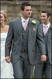3 piece grey suit, pink tie. I really like this color suit ...