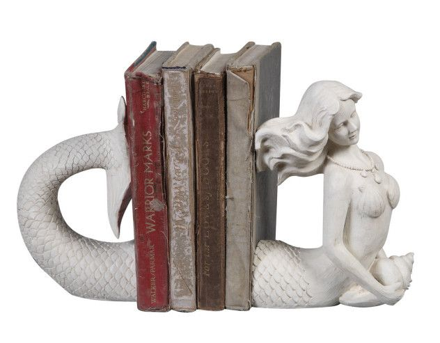 Enchanting mermaid is sure to make a splash on your bookshelf! Crafted from resin in a cream colored finish and made to look like carved wood, our delightful mermaid has...