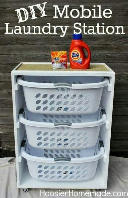 Mobile laundry station. Basket/hamper for each color of dirty cloths, and built in ironing board on top! Put it on casters so it can roll under the bed when not in use!