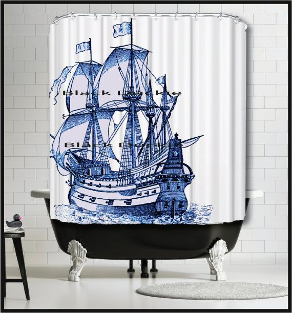 Blue Sailing Ship Shower Curtain Tall Ship Shower by MySillyPoni
