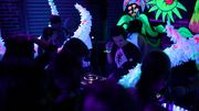 """King Felix is a Dj/ Music Producer from Los Angeles CA. This is an image of King Felix Djing @ Purple 33 (underground house music venue) event """"Rabbit Hole"""" in Los Angeles california."""
