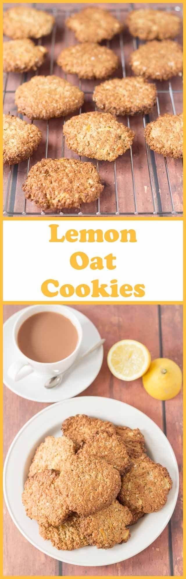 Lemon oat cookies are a delicious and simple bake with an amazing fresh lemon taste. Made with oats, wholemeal flour, coconut oil and lemon you'll love this healthier cookie recipe! via @neilhealthymeal