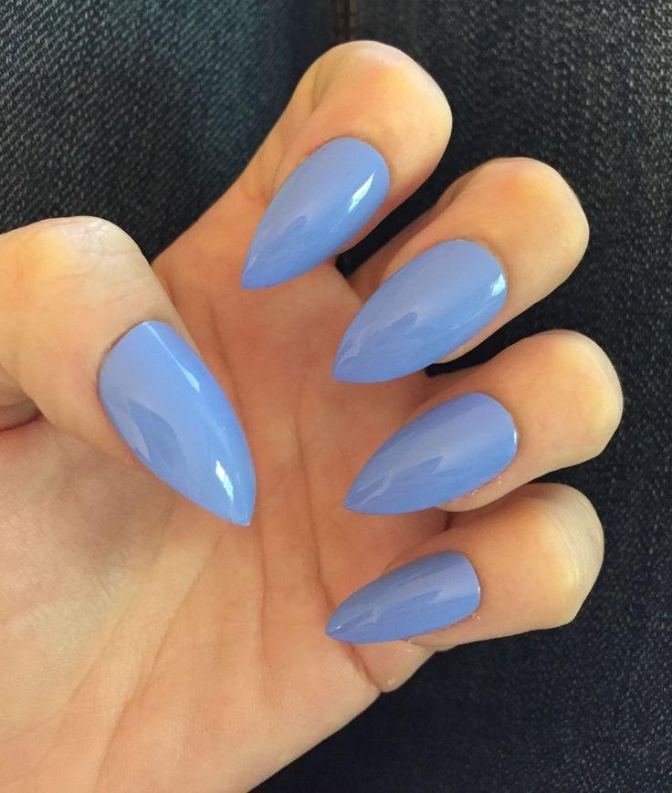 Set of 20 Handmade Bright Blue Press on False Stiletto Nails Claws | eBay