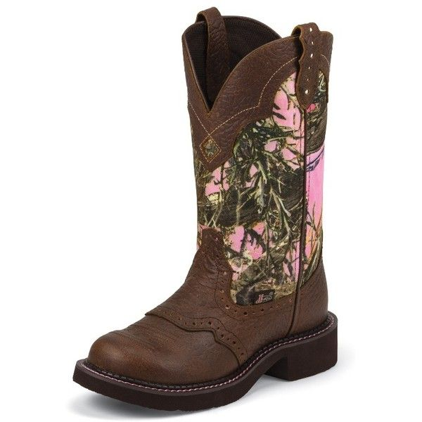 Justin Boots Women's Brown Gypsy Boots With Pink Camo-Like Top ($110) ❤ liked on Polyvore featuring shoes, boots, pink rubber boots, round toe boots, camouflage boots, pink camouflage shoes and pink boots