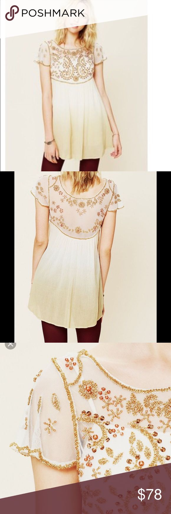 Free People Tunic Beautiful beading, golden beige color. Only worn once, like new condition. All beads intact. Purchased from Free People store. Free People Dresses