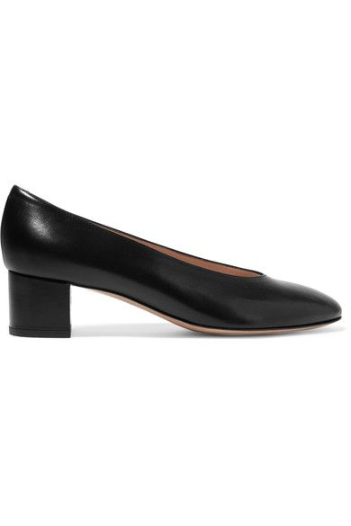 Heel measures approximately 40mm/ 1.5 inches Black leather Slip on Made in Italy