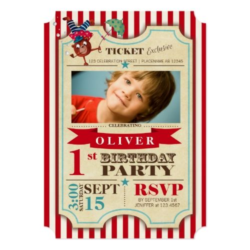 120 best circus birthday invitations images on pinterest circus circus birthday invitations circus ticket 1 st birthday party invitation stopboris Image collections