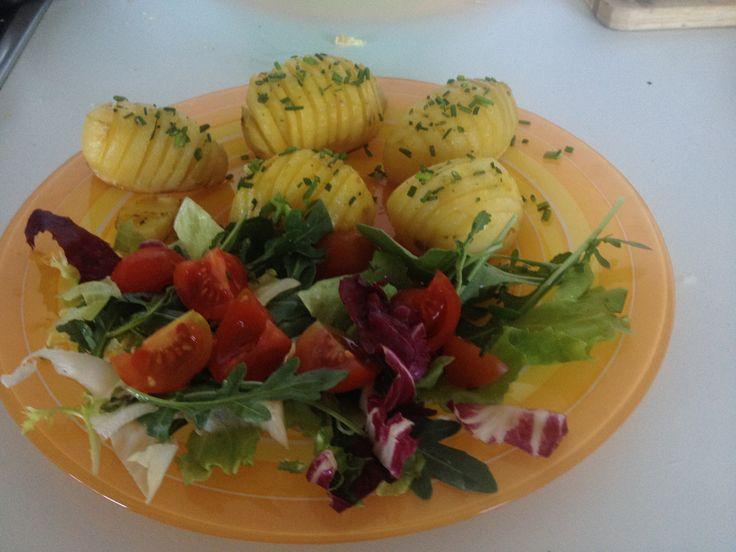 Accordion Potatoes with Salad