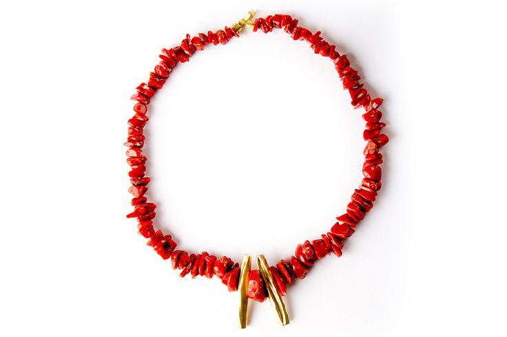 Collana in oro 18kt e corallo. - Necklace in 18kt gold and coral. #Collana #Gioielli #Jewels #Necklace #Handmade #Perugia #Corallo #Rosso