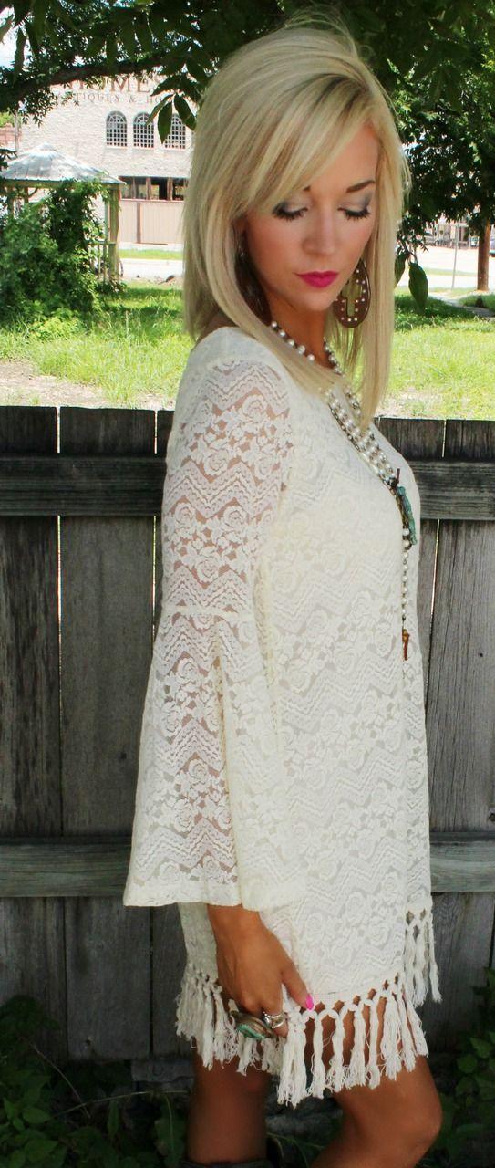 The Lace Cactus - Misty Marie Ivory Fringe Lace Dress, $36.00 (http://www.thelacecactus.com/misty-marie-ivory-fringe-lace-dress/)