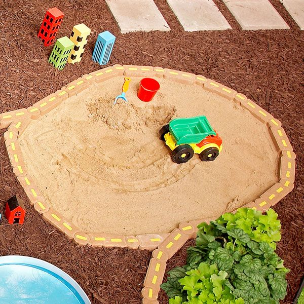 outdoor play area in ground sandbox - Sandbox Design Ideas