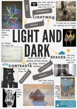 LIGHT AND DARK - theme mind-map interactive artist links -