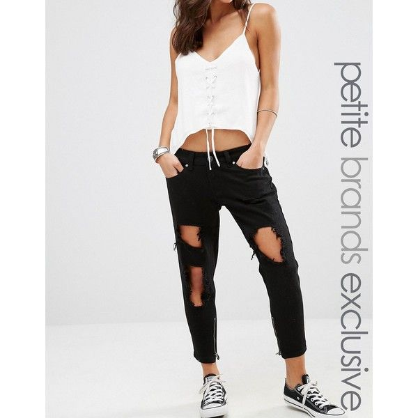 Liquor & Poker Petite Skinny Jeans With Extreme Distressing Ripped... (€52) ❤ liked on Polyvore featuring jeans, black, petite, destructed skinny jeans, ripped skinny jeans, straight-leg jeans, distressed skinny jeans and petite jeans