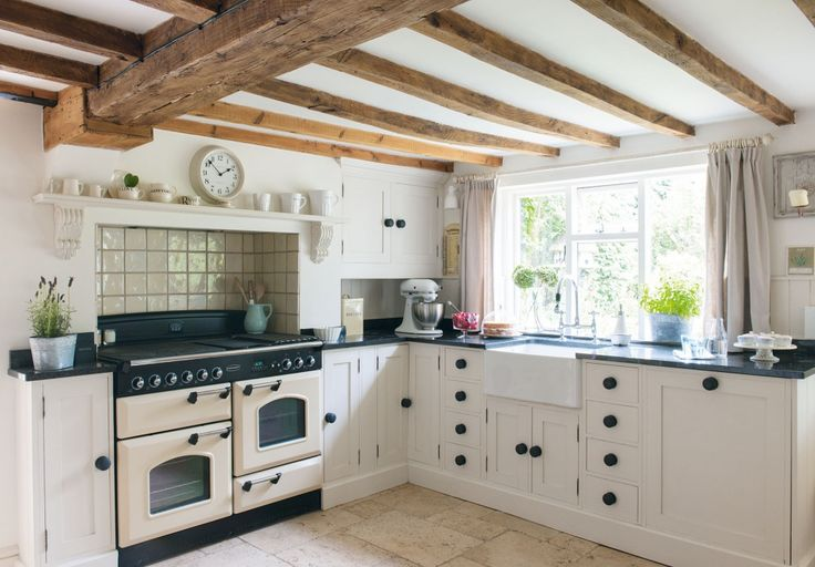 An 18th-century farmhouse kitchen in the English countryside of Derbyshire.