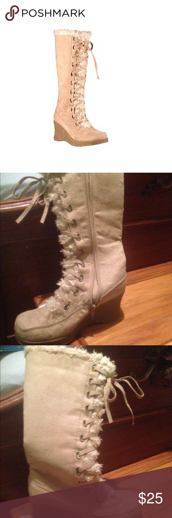 Beige lace up knee boots Zipper on side wedge heel.  No box.  Was destroyed in shipping canyon river blues Shoes