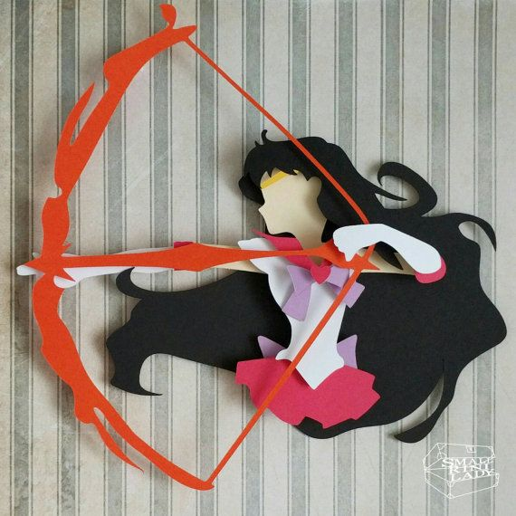 "Sailor Mars with Fire Bow Arrow Moon Layered Paper Cut Art Piece 8""x8"" Shadowbox…"