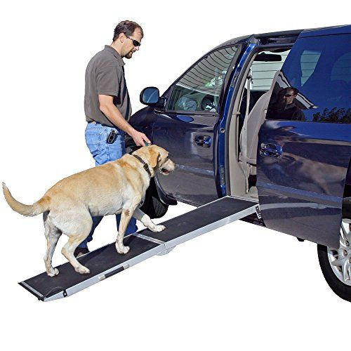 "6 ft. Lightweight Extra Wide Folding Aluminum Pet Ramp. Reliable pet loading ramp for trucks, vans, and SUV's. 6 ft. x 18.75"" with a maximum 250 lb. capacity intended for pet use only. Paw-friendly high traction grip tape surface. Folds in half for storage and transporting, includes a built-in carrying handle. Lightweight aluminum construction weighs only 21 lbs."