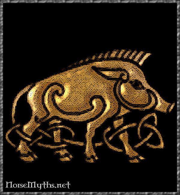 Gullinbursti ('Golden Bristle'), in Norse Mythology, is Freyr's golden boar, which represents male sexuality and stamina. It is one of the many gifts, including Thor's Hammer (Mjölnir), and Odin's Spear (Gungnir), which the gods only got due to Loki's dangerous bet wit the dwarfs. Without Loki, the gods would have been virtually powerless, and Asgard undefended by it's wall too! Hail Loki!