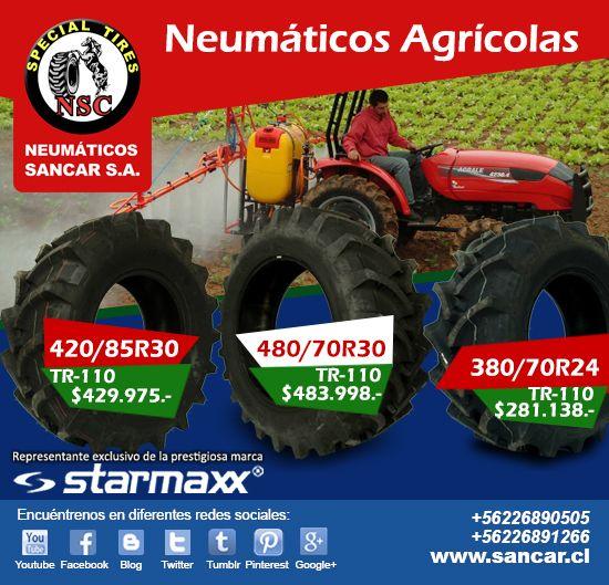 Aprovecha Precios Insuperables Neumáticos Starmaxx para uso agrícola  Medida: 380/70R24 modelo TR-110 precio: $281.138.- Medida: 480/70R30 modelo TR-110 precio: $483.998.- Medida: 420/85R30 modelo TR-110 precio: $429.975.-  Valores Neumáticos + IVA  www.sancar.cl – ventas@sancar.cl - Antillanca 560 módulo 5 Lo Boza Pudahuel - Teléfono +56226890505 | Bascuñán Guerrero 540 Santiago - Teléfono +56226891266