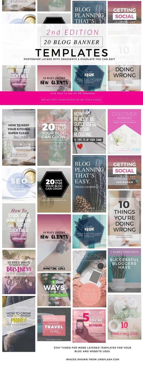 A nice set of social media image templates for your blog, instagram, and pinterest  by Holly McCaig Creative on @creativemarket