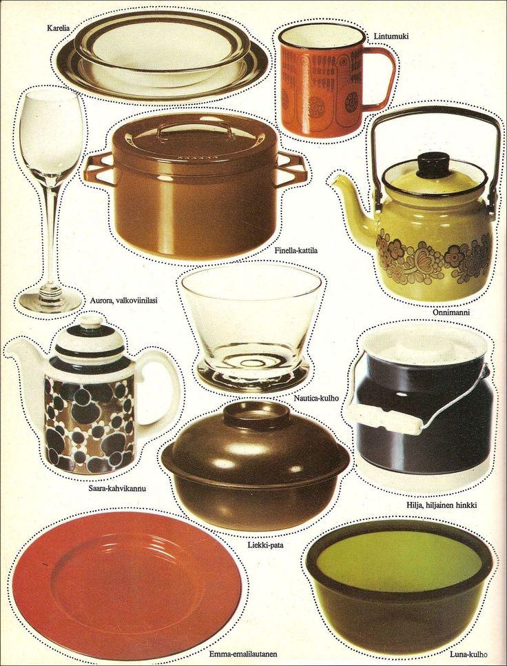 """Onpas tässä Arabian vuoden 1973 mainoksessa hyvä idea! """"....Olemme tehneet parhaamme jotta lasi, posliini ja emali sointuisivat ..."""