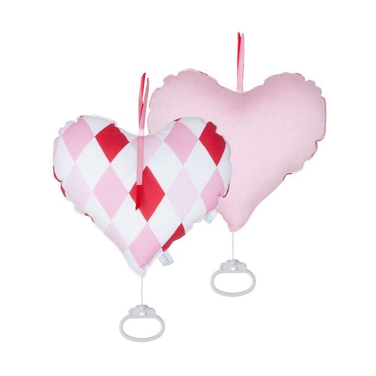 LITTLE DUTCH - Spieluhr Herz Raute rosa rot