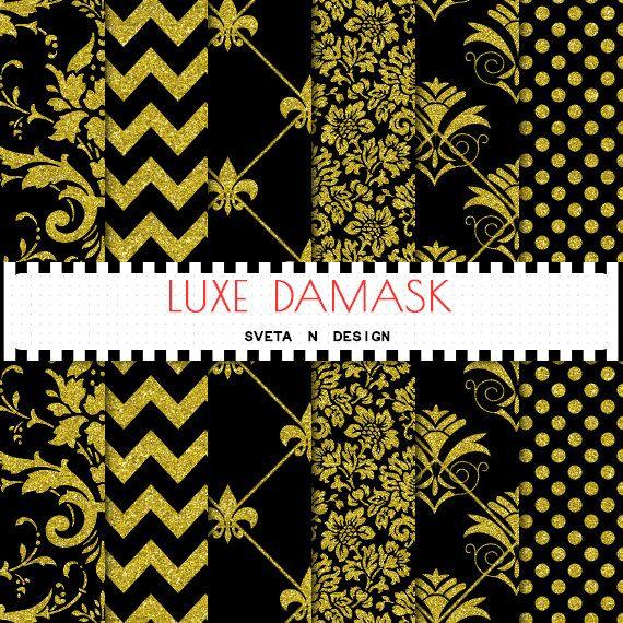 Glitter Gold Damask digital paper with gold glitter damask, gold glitter polkadot and gold glitter chevron patterns