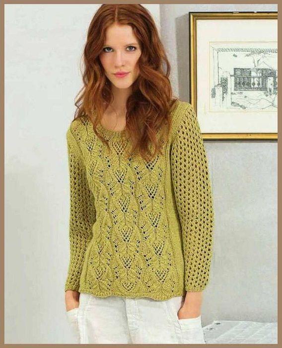Озорные петельки: Пуловер цвета карри.
